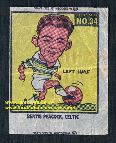 1960 Webcosa Celtic Bertie Peacock original wax paper gum insert